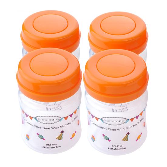 Autumnz-Wide Neck Breastmilk Storage Bottles (4 bottles) - Tangerine