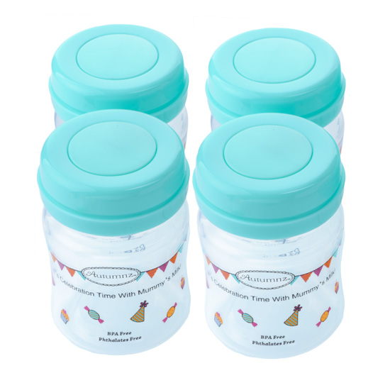 Autumnz-Wide Neck Breastmilk Storage Bottles (4 bottles) - Turquoise