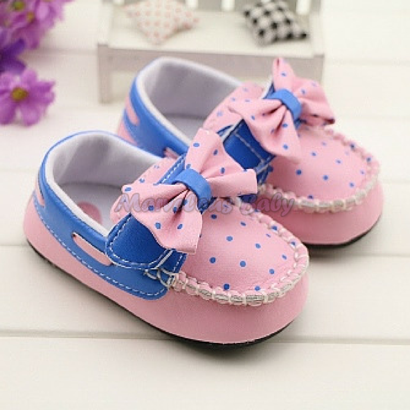 Gurlish Pink and Blue Polkadot Toddler Shoe 1