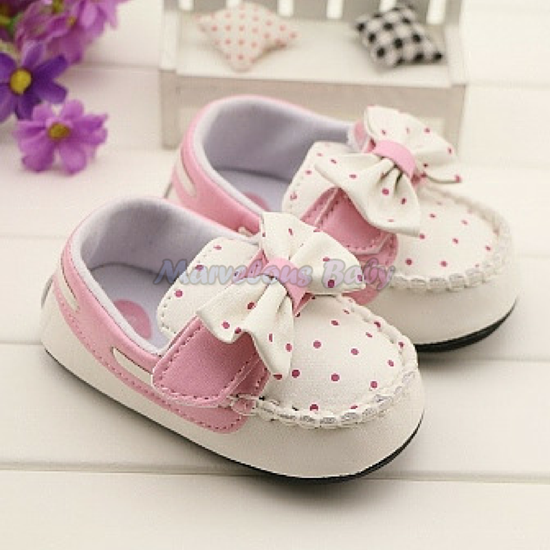 Gurlish White and Pink Polkadot Toddler Shoe 1