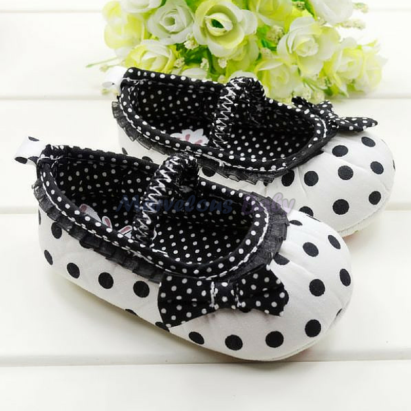 White Polkdadot Black Bow Prewalker Shoe 1