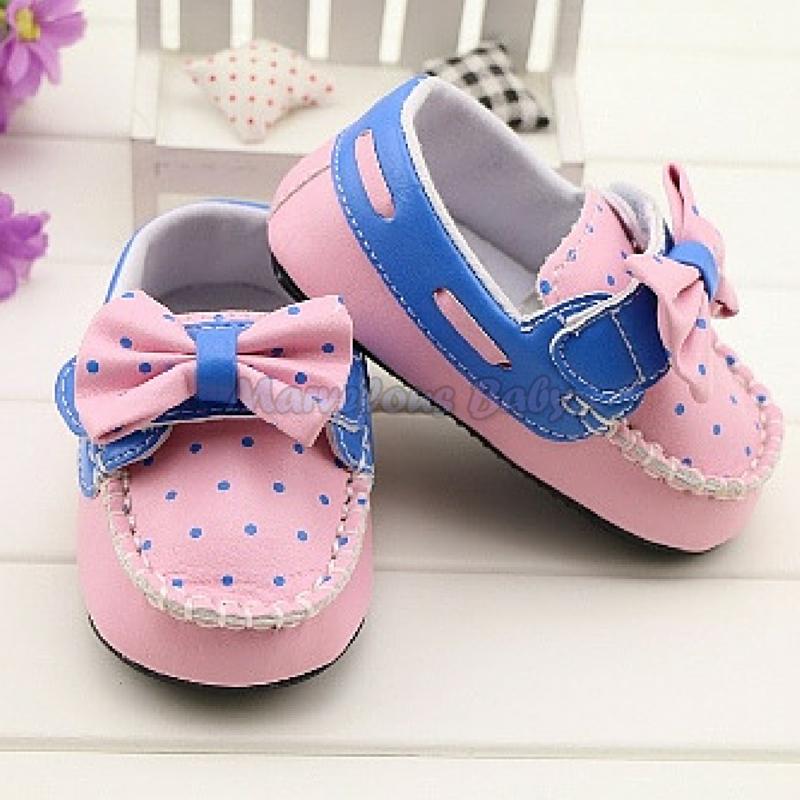 Gurlish Pink and Blue Polkadot Toddler Shoe 2