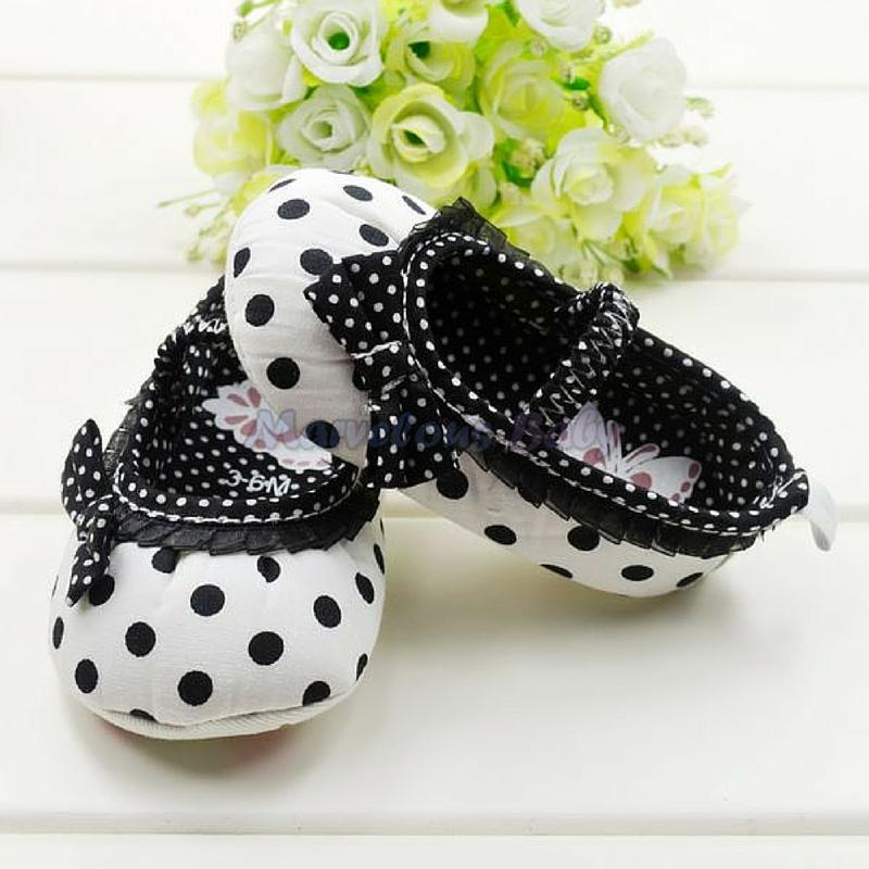 White Polkdadot Black Bow Prewalker Shoe 2