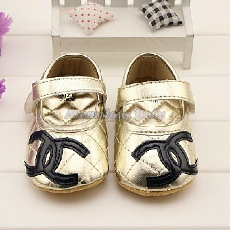 Chanel GOLD Prewalker Shoe 2