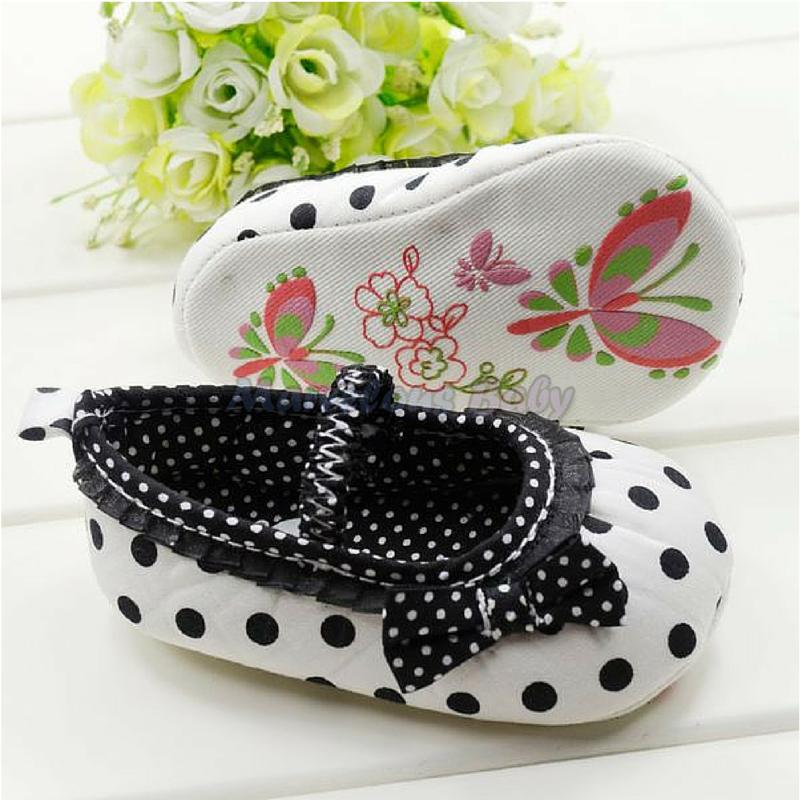 White Polkdadot Black Bow Prewalker Shoe 3