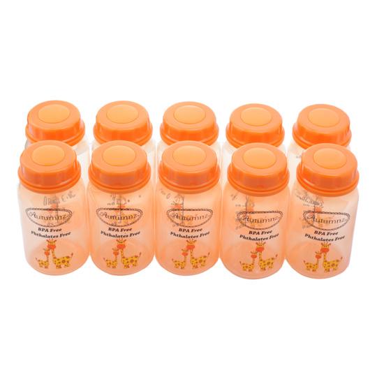 Autumnz - Breastmilk Storage Bottles (10 bottles) - Tangerine Giraffe
