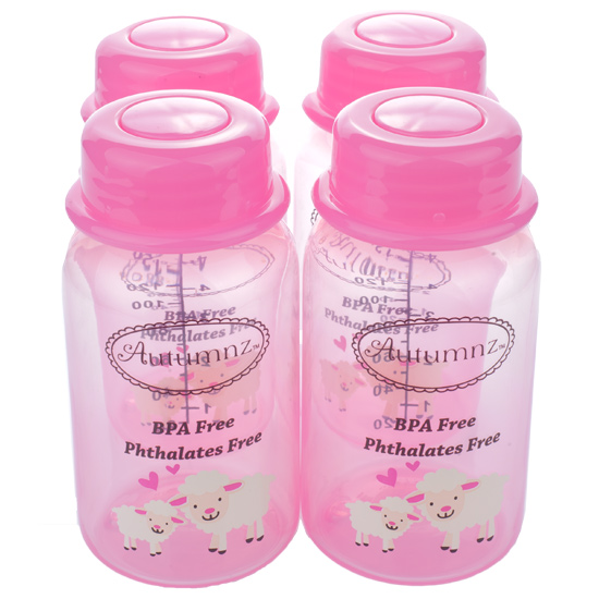 Autumnz - Breastmilk Storage Bottles (4 bottles) - Pinky Lamb