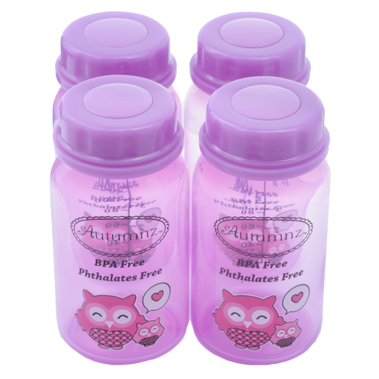 Autumnz - Breastmilk Storage Bottles (4 bottles) - Purple Owl