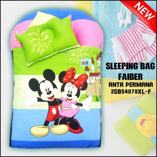 SLEEPING BAG FIBER MICKEY KAIN COTTON BALDU SAIZ BESAR XL ANTA PERMANA
