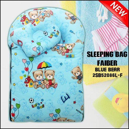 SLEEPING BAG FIBER BLUE BEAR KAIN COTTON BALDU SAIZ L