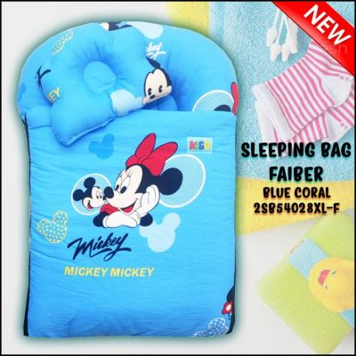 SLEEPING BAG FIBER MICKEY KAIN COTTON BALDU SAIZ BESAR XL BLUE CORAL