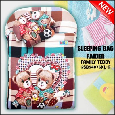 SLEEPING BAG FIBER TEDDY KAIN COTTON BALDU SAIZ BESAR XL FAMILY TEDDY