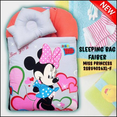 SLEEPING BAG FIBER MICKEY KAIN COTTON BALDU SAIZ BESAR XL MISS PRINCESS