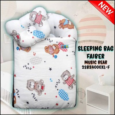 SLEEPING BAG FIBER MUSIC BEAR KAIN COTTON ASLI SAIZ XL