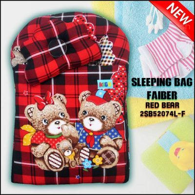 SLEEPING BAG FIBER RED BEAR KAIN COTTON BALDU SAIZ L