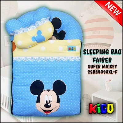 SLEEPING BAG FIBER SUPER MICKEY KAIN COTTON ASLI SAIZ XL